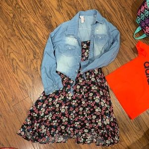 Justice Flower Dress with Jean Jacket